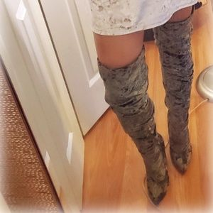 Shoes - NEW. THIGH HIGH CRUSHED VELVET BOOTS